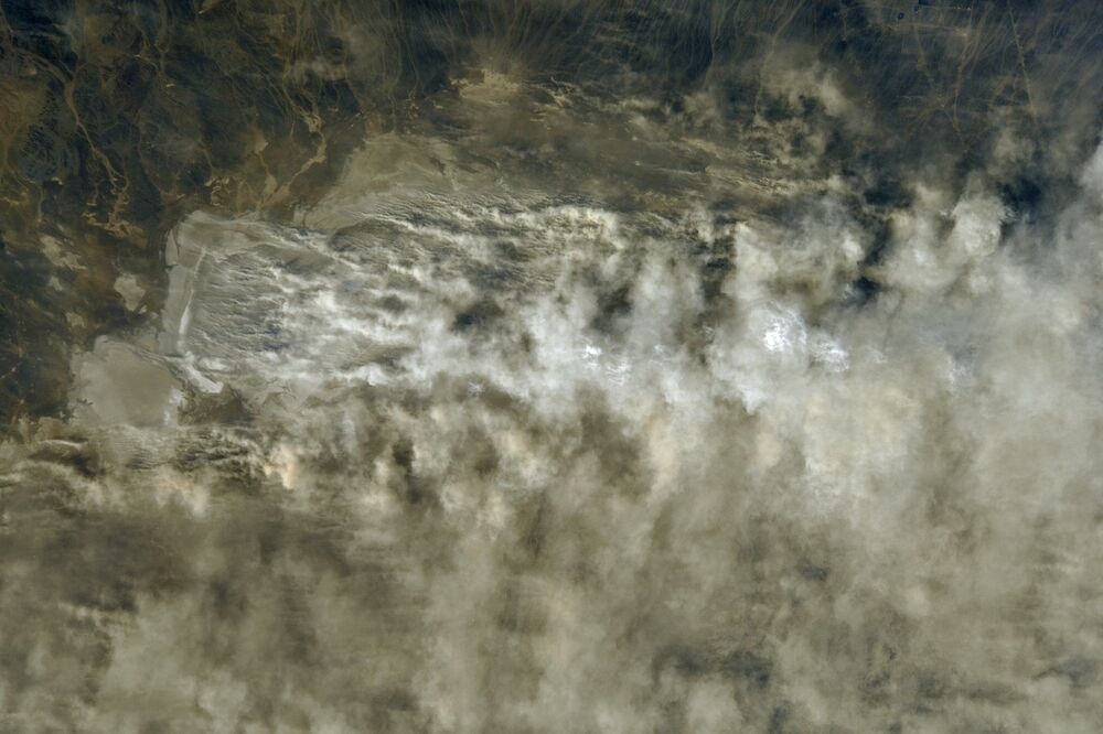 Burza piaskowa w Kazachstanie widziana z kosmosu