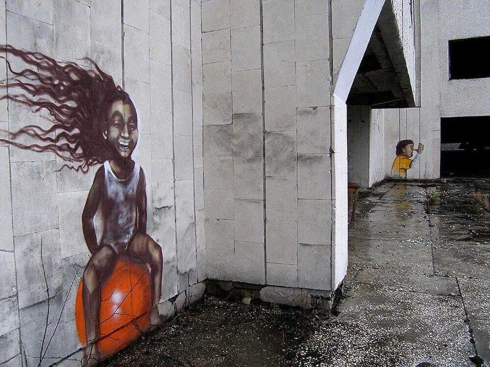 Graffiti w strefie elektrowni jądrowej w Czarnobylu