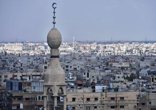 Domy na przedmieściach Damaszku przy obozie palestyńskich uchodźców