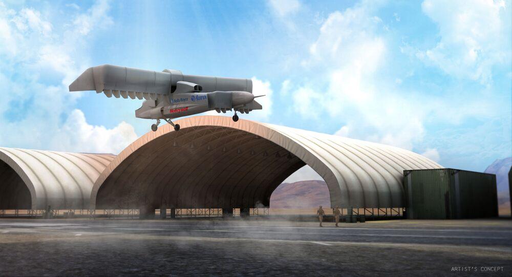 Graficzne wyobrażenie projektu samolotu pionowego startu i lądowania LightningStrike VTOL X-Plane