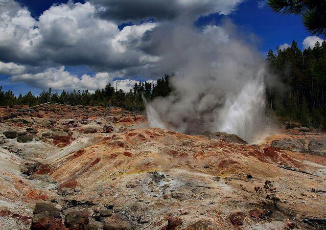 Gejzer Steamboat w międzynarodowym rezerwacie Yellowstone