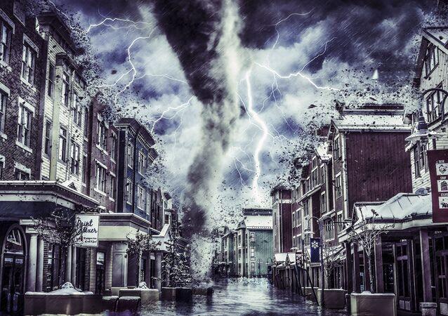 Artystyczna wizja tornada w mieście
