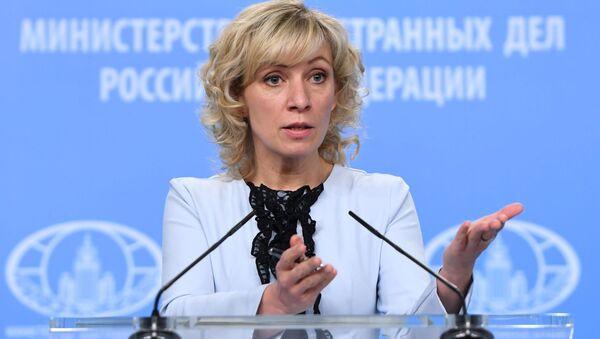 Rzeczniczka Ministerstwa Spraw Zagranicznych Federacji Rosyjskiej Maria Zacharowa podczas briefingu na temat aktualnych problemów polityki zagranicznej - Sputnik Polska
