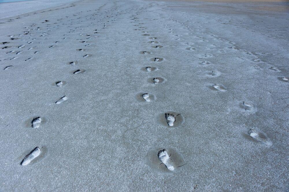 Ślady na brzegu Kojaszkiego jeziora, Krym