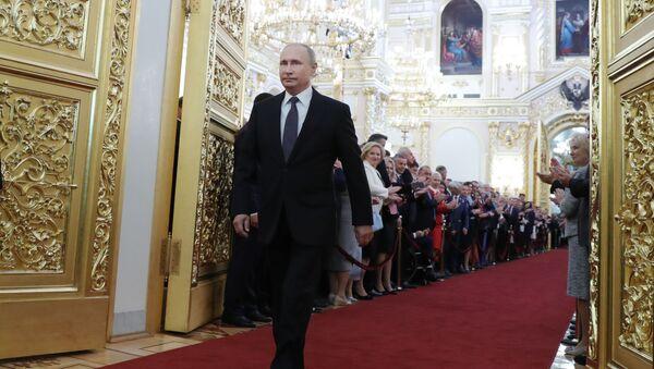 Prezydent Federacji Rosyjskiej Władimir Putin podczas uroczystości inauguracji w Wielkim Pałacu Kremlowskim - Sputnik Polska