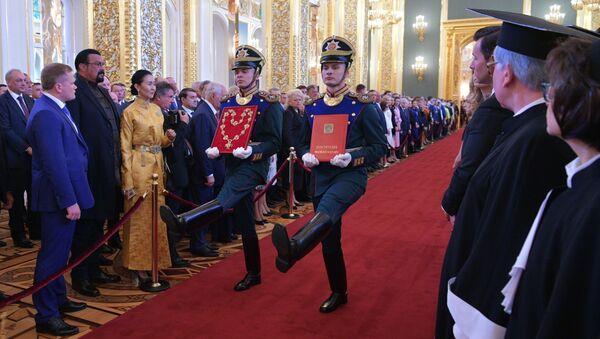 Żołnierze Pułku Prezydenckiego na ceremonii inauguracji prezydenta Rosji Władimira Putina w Wielkim Pałacu Kremlowskim - Sputnik Polska