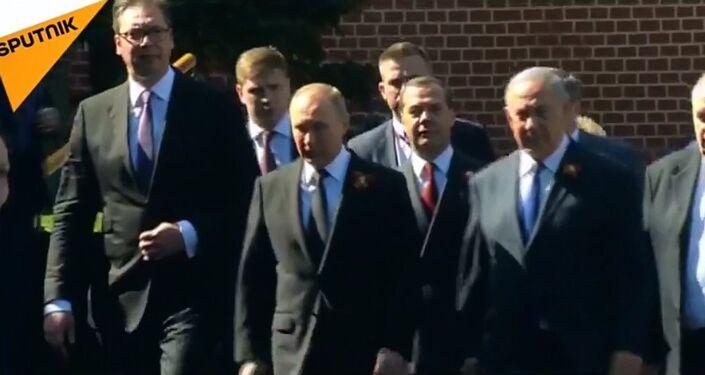 Władimir Putin i Benjamin Netanjahu na Defiladzie Zwycięstwa w Moskwie