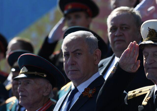 Benjamin Netanjahu podczas Parady Zwycięstwa w Moskwie