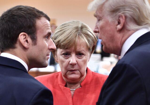 Prezydent Francji Emmanuel Macron, kanclerz Niemiec Angela Merkel i prezydent USA Donald Trump