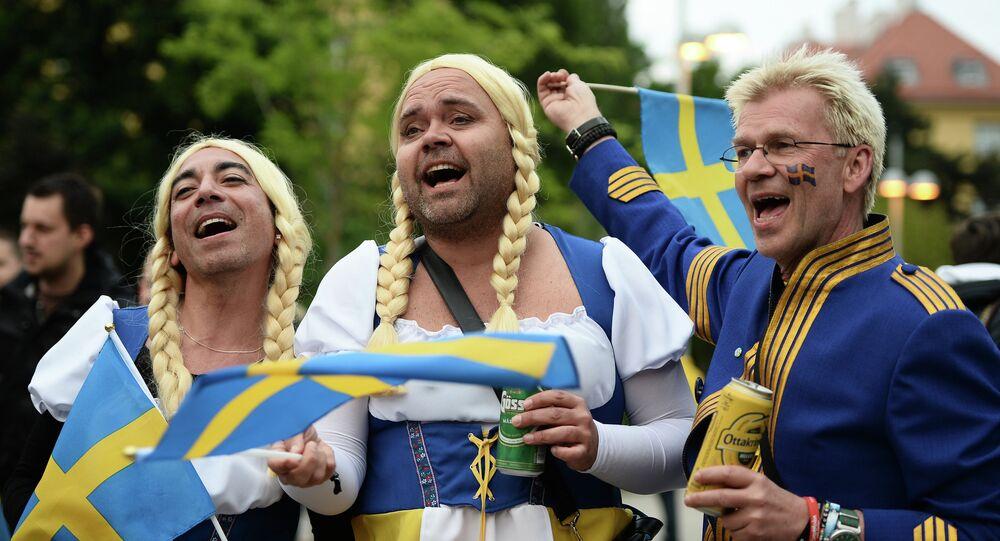 Szwedzka grupa wsparcia podczas Eurowizji 2015