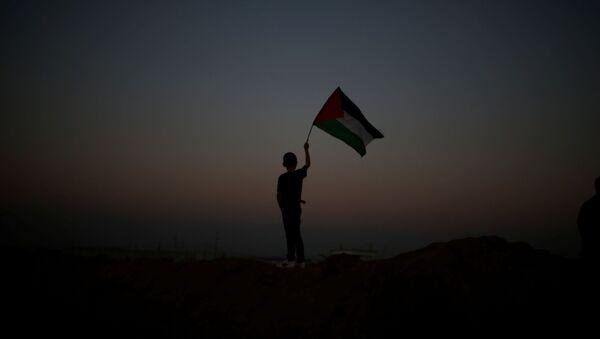 Chłopak z palestyńską flagą podczas akcji protestacyjnej na granicy Strefy Gazy i Izraela - Sputnik Polska