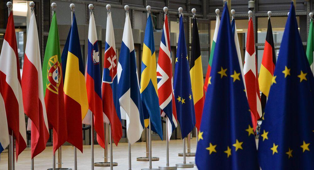 Flagi państw członkowskich szczytu UE w Brukseli