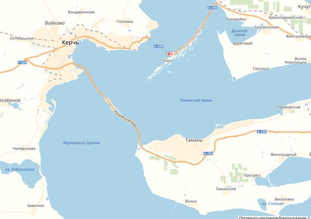Zrzut ekranu mapy serwisu Google Maps, gdzie pojawił się Most Krymski