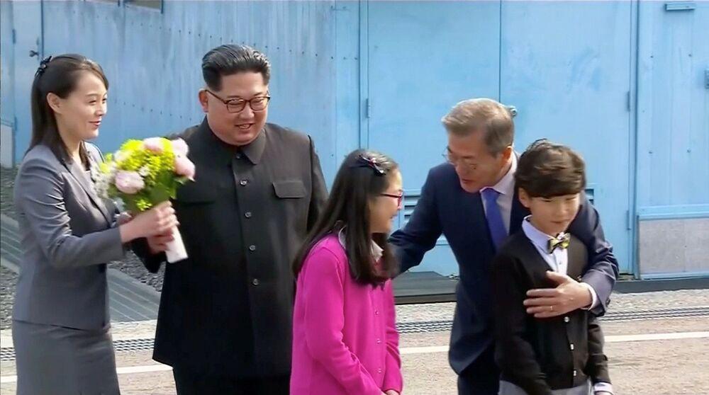 Kim Dzong Un i jego siostra podczas spotkania z prezydentem Republiki Korei, 2018 rok