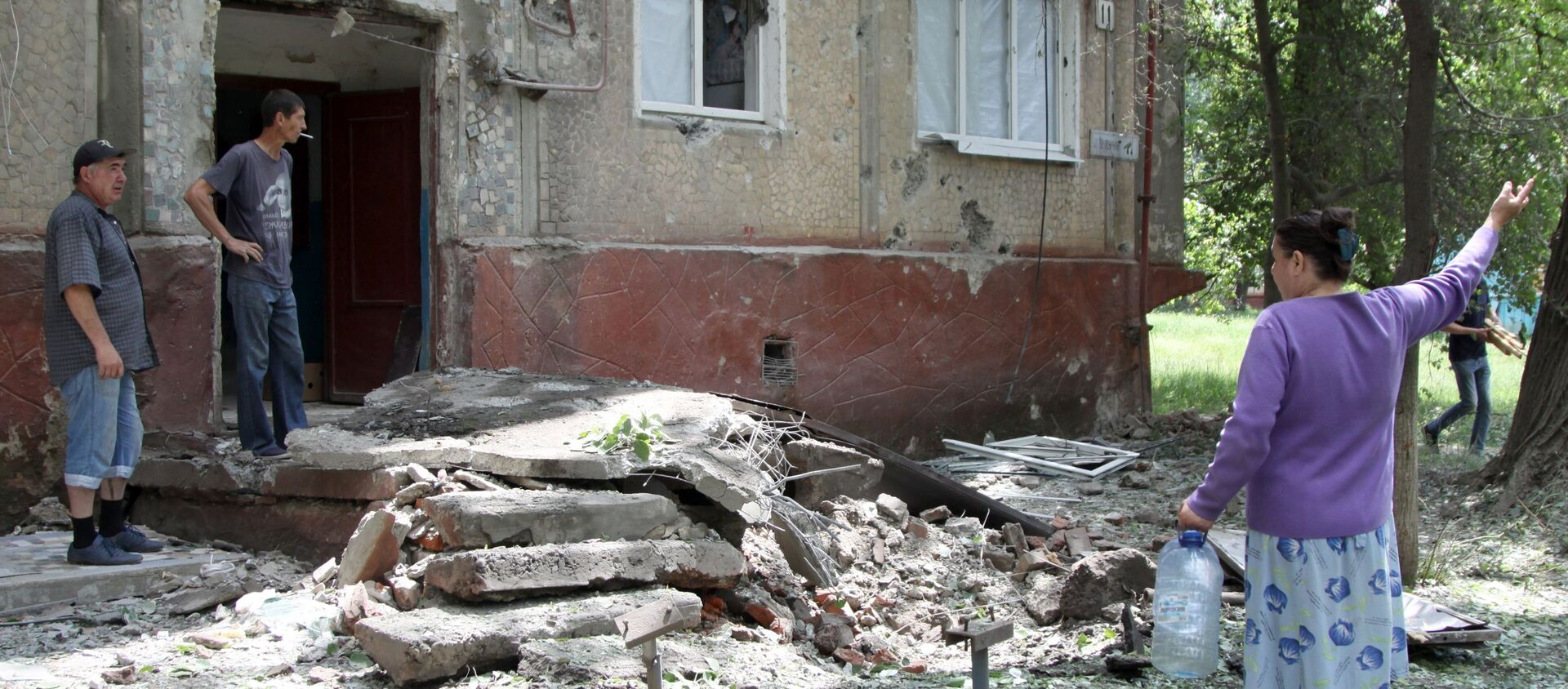 Konsekwencje ostrzału miejscowości w Donbasie przez ukraińskie siły bezpieczeństwa - Sputnik Polska, 1920, 06.04.2021