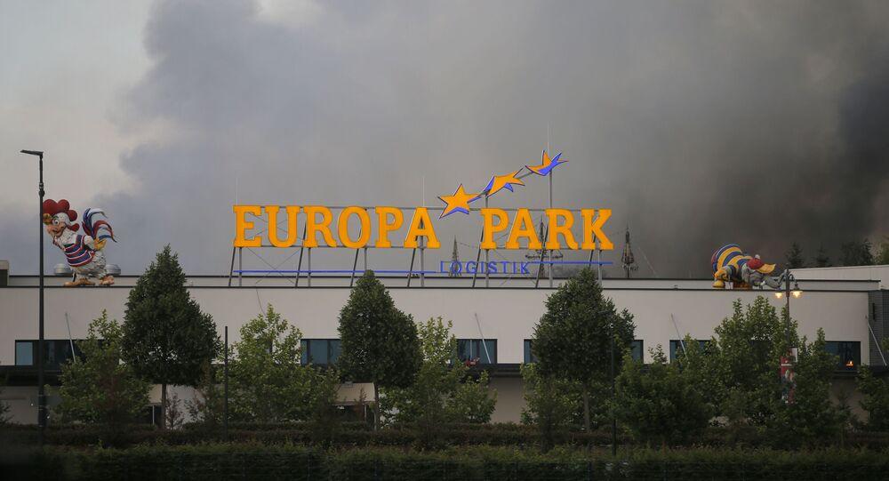 Pożar w największym parku rozrywki w Niemczech - Europa-Park - w miejscowości Rust