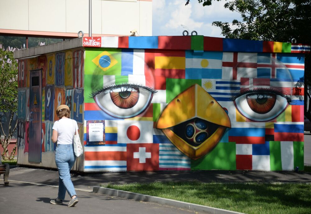 Graffiti poświęcone MŚ w piłce nożnej w Moskwie