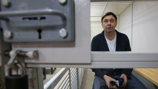 Kierownik portalu Ria Novosti Ukraina Kiriłl Wyszynski w czasie rozpatrywania odwołania od aresztowania w chersońskim sądzie - Sputnik Polska