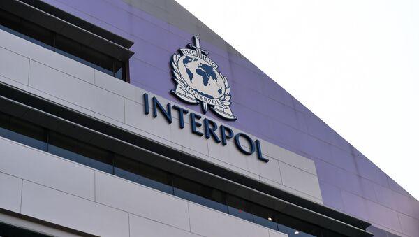 Emblemat Interpolu na ścianie nowego kompleksu organizacji w Singapurze - Sputnik Polska