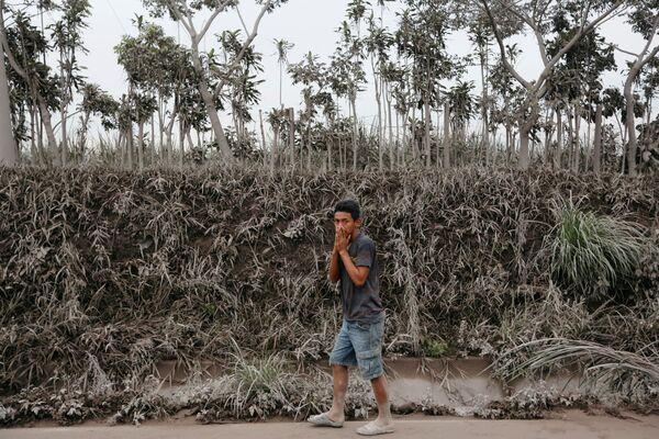 Mężczyzna w strefie erupcji wulkanu Fuego w Gwatemali - Sputnik Polska