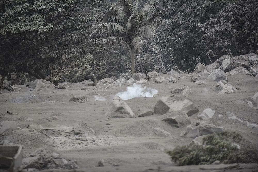 Pokryta popiołem wieś San Miguel Los Lotes