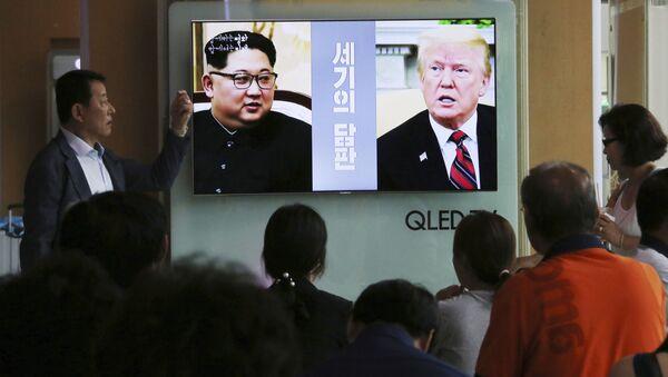 Spotkanie prezydenta USA Donalda Trumpa z północnokoreańskim przywódcą Kim Dzong Unem odbędzie się na wyspie Sentosa w Singapurze - Sputnik Polska