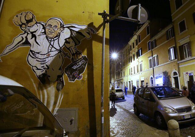 Graffiti przedstawiające papieża Franciszka na ulicy Rzymu