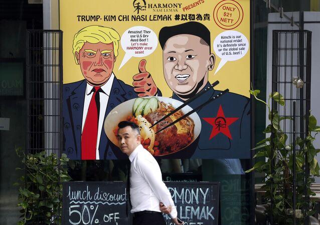 Plakat przedstawiający Donalda Trumpa i Kim Dzong Una