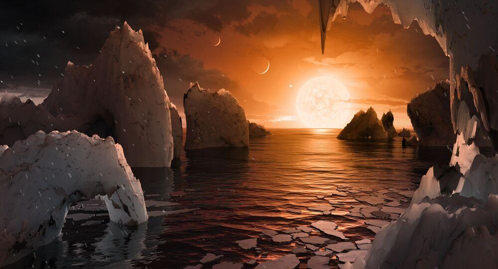 Artystyczne wyobrażenie powierzchni planety TRAPPIST-1