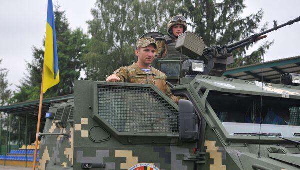 Ukraiński czołg w czasie Międzynarodowych Ćwiczeń Wojskowych Rapid tridetn-2016 - Sputnik Polska