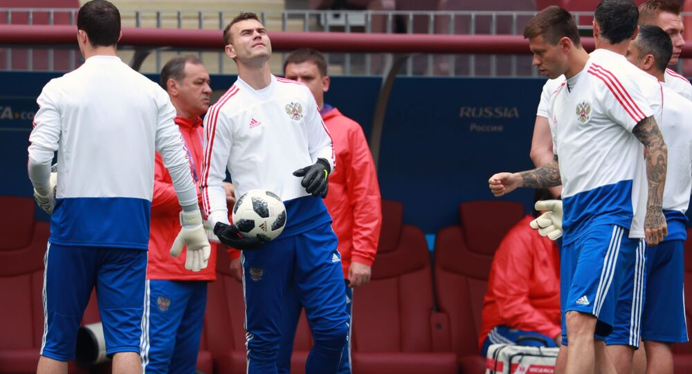 Trening rosyjskiej drużyny na stadionie Łużniki