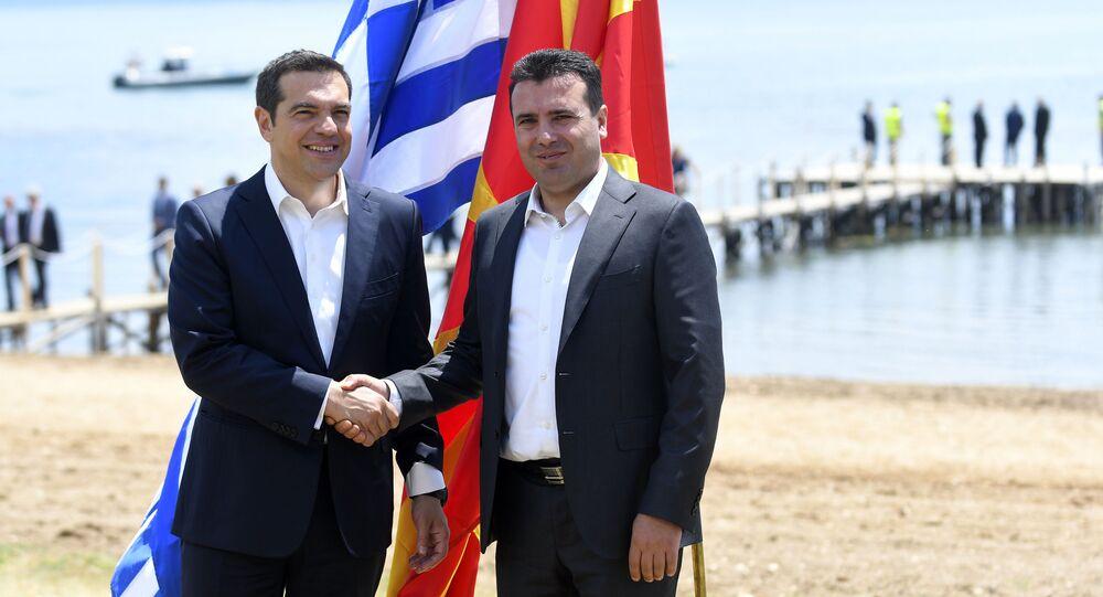 Premier Grecji Aleksis Tsipras oraz premier Macedonii Zoran Zaew