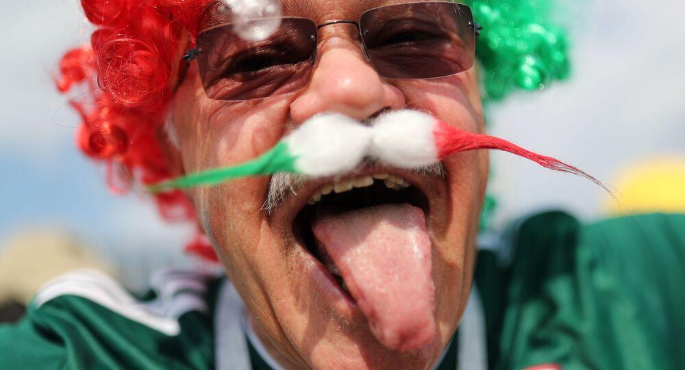 Kibic przed meczem Niemcy-Meksyk