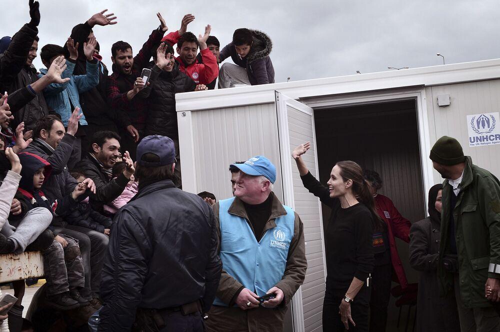 Aktorka i ambasador dobrej woli ONZ Angelina Jolie w Grecji, 2016 r.
