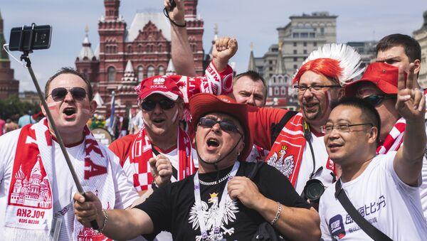 Polscy kibice w Moskwie przed meczem Polska-Senegal - Sputnik Polska