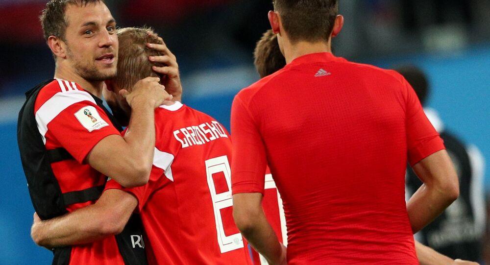 Rosyjska reprezentacja cieszy się ze zwycięstwa w meczu fazy grupowej mistrzostw świata w piłce nożnej między reprezentacjami Rosji i Egiptu