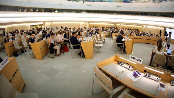 Puste miejsca amerykańskiej delegacji podczas sesji Rady Praw Człowieka w ONZ - Sputnik Polska