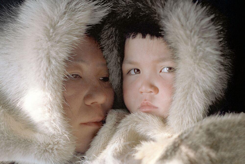 Ojciec i syn - mieszkańcy Dalekiej Północy w ZSRR