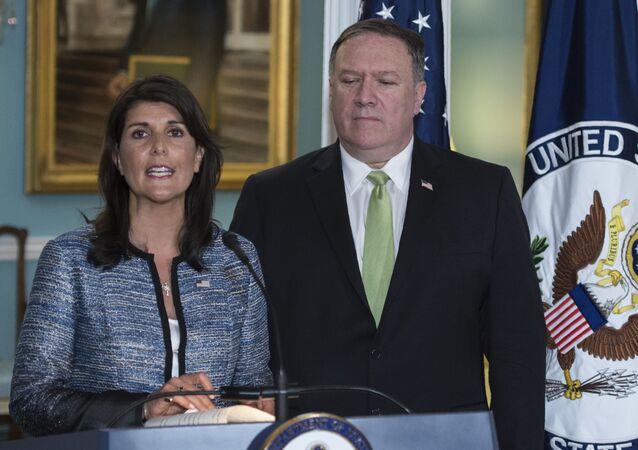 Stały przedstawiciel USA przy ONZ Nikki Haley i sekretarz stanu USA Mike Pompeo ogłaszają wystąpienie USA z UNHRC