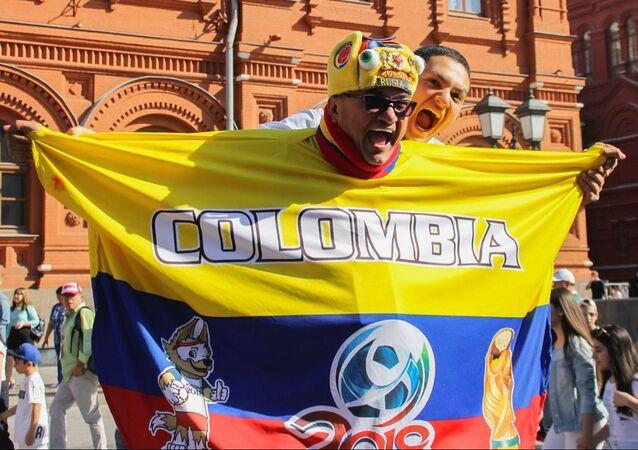 Kibic reprezentacji Kolumbii przed meczem fazy grupowej mistrzostw świata w piłce nożnej