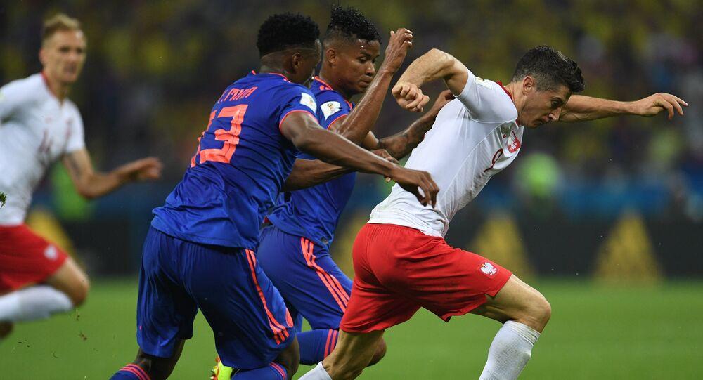 Robert Lewandowski na meczu Polska - Kolumbia w Kazaniu