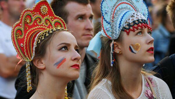 Kibicki rosyjskiej reprezentacji w strefie kibica podczas meczu Urugwaj-Rosja  - Sputnik Polska