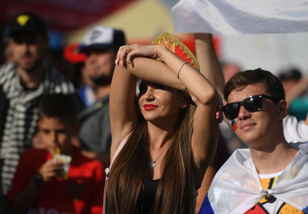 Zdjęcie ze strefy kibica podzas meczu Rosja - Urugwaj