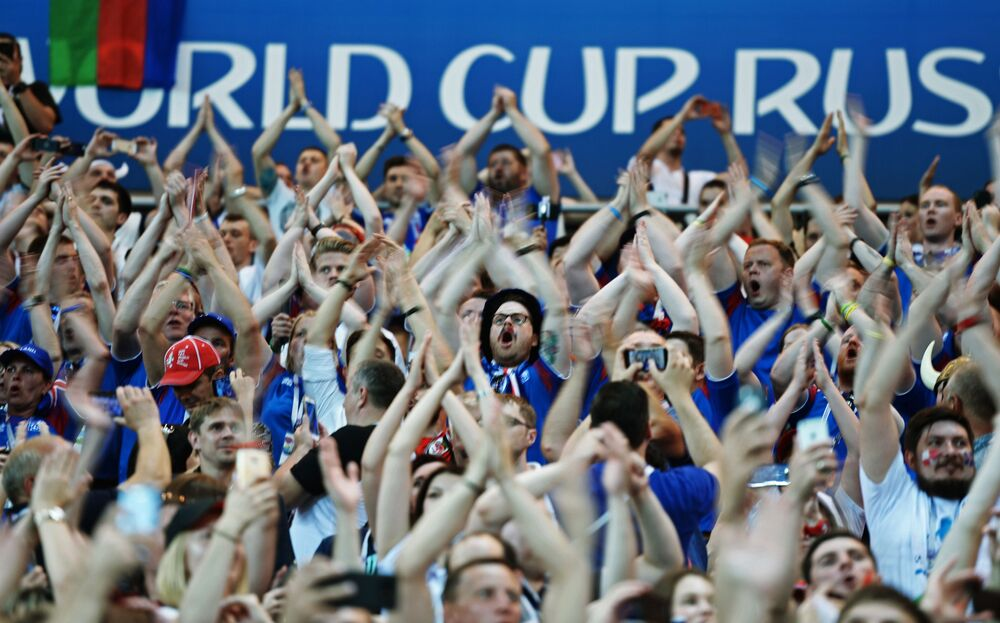 Kibice reprezentacji Islandii na meczu MŚ 2018 Islandia-Chorwacja