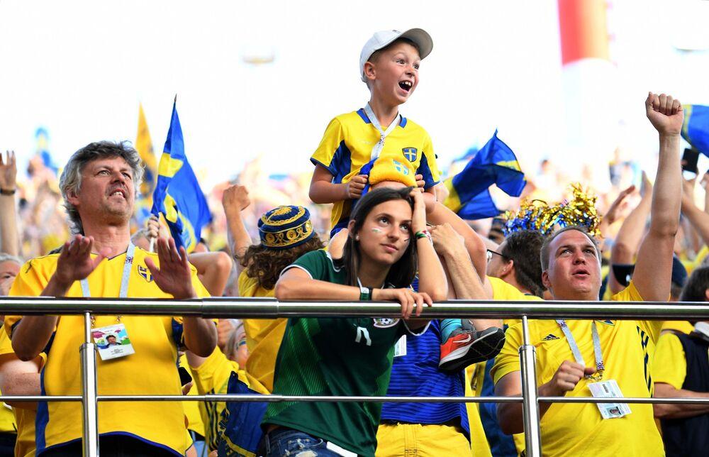 Kibice reprezentacji Szwecji podczas meczu MŚ 2018 Meksyk-Szwecja