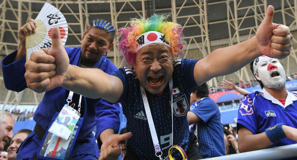 Kibice reprezentacji Japonii na meczu MŚ 2018 Kolumbia-Japonia