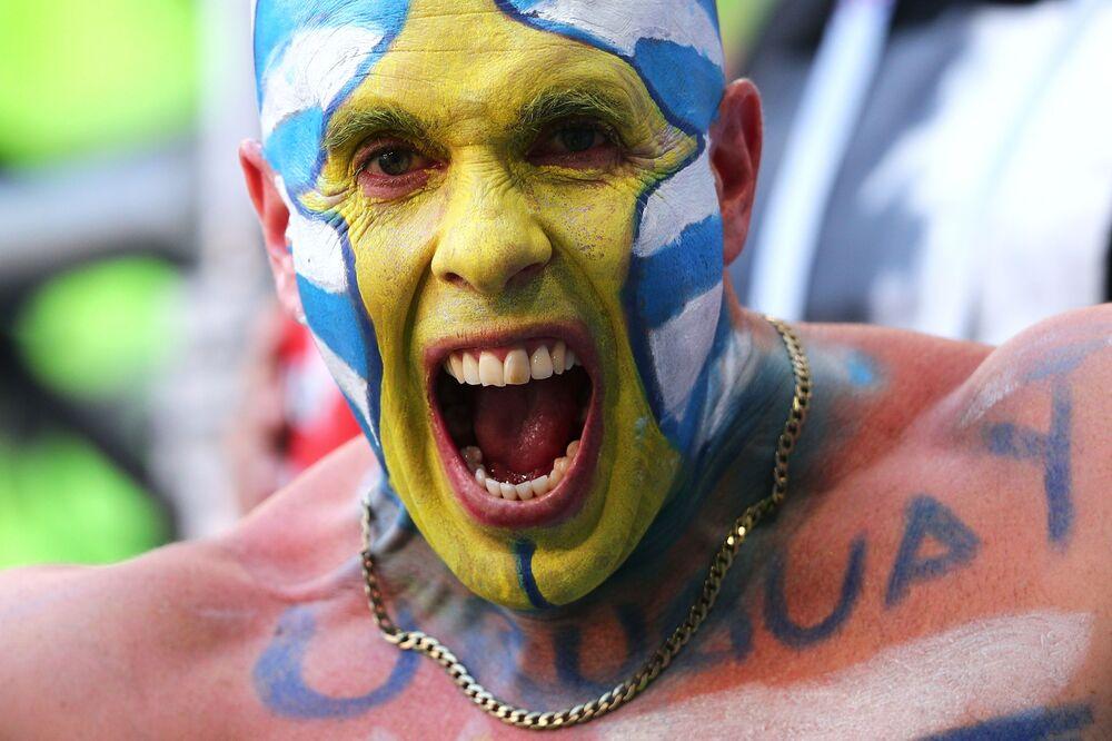 Kibic reprezentacji Urugwaju na meczu MŚ 2018 Urugwaj-Rosja