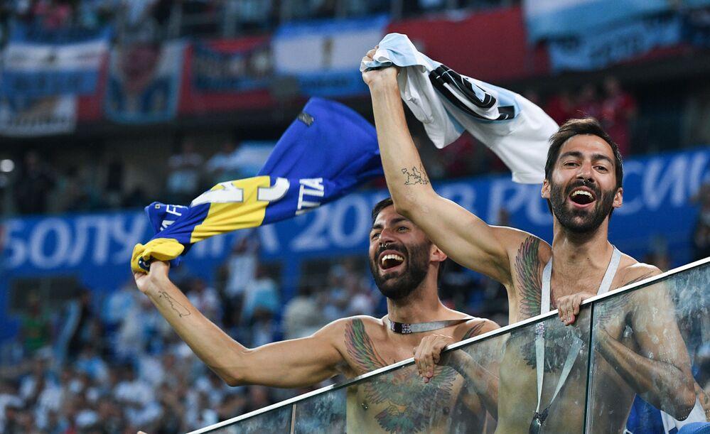 Kibice reprezentacji Argentyny podczas meczu MŚ 2018 Nigeria-Argentyna