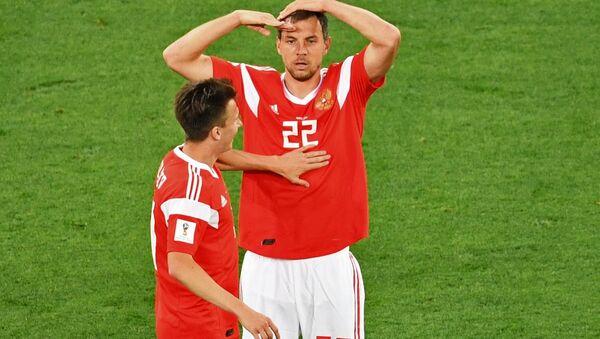Artem Dziuba po zdobytej bramce w meczu Rosja-Egipt - Sputnik Polska