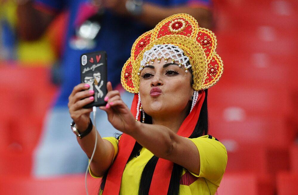 Kibicka z Kolumbii na meczu z Anglią